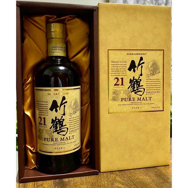 ニッカウヰスキー(ニッカウイスキー)の竹鶴21年 ピュアモルト 化粧箱 食品/飲料/酒の酒(ウイスキー)の商品写真