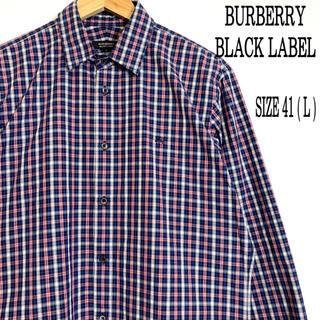 バーバリーブラックレーベル(BURBERRY BLACK LABEL)のバーバリーブラックレーベル 長袖チェックシャツ41(シャツ)