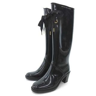 マークバイマークジェイコブス(MARC BY MARC JACOBS)のマークバイマークジェイコブス レインブーツ 長靴 イタリア製 39 ブラック(レインブーツ/長靴)