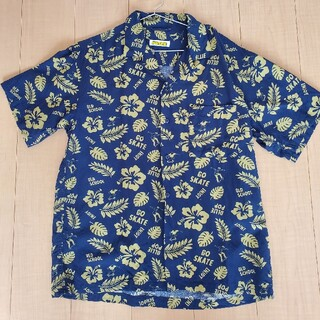 BAYFLOW - BAYFLOW オープンカラーシャツ 紺×黄