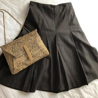 ELLE - ELLE Paris ブラウン ステッチ入り 美ライン大人スカート