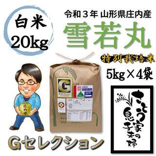 令和3年 山形県庄内産 雪若丸 白米20kg Gセレクション 特別栽培米(米/穀物)