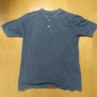 ヘンリーネック Tシャツ  半袖  メンズ  Lサイズ  紺色