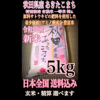 農家直送⭐秋田県産 あきたこまち 5kg 特別栽培 有機米 一等米 特Aランク(米/穀物)