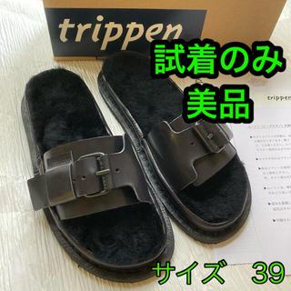 トリッペン(trippen)の完売品 トリッペン×伊藤まさこ ムートンサンダル ネイビー サイズ39  美品(サンダル)