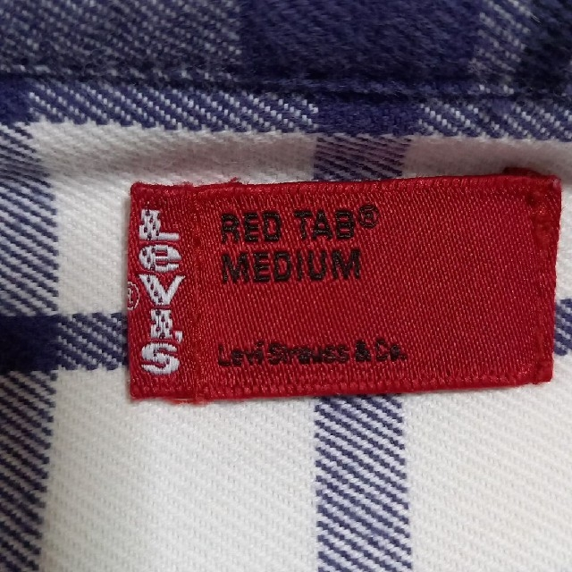 Levi's(リーバイス)のLevi'sコットンワークシャツ白紺黒チェックMEDIUM新品同様 メンズのトップス(シャツ)の商品写真