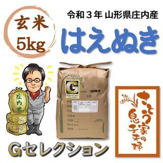 令和3年 山形県庄内産 はえぬき 玄米5kg Gセレクション(米/穀物)