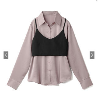GRL - GRL リボン付ビスチェと光沢ロングシャツ