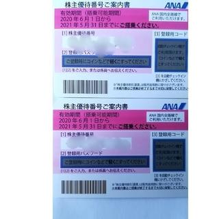 エーエヌエー(ゼンニッポンクウユ)(ANA(全日本空輸))のANA株主優待券2枚(2021年11月末日有効)②(航空券)