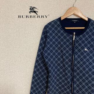 バーバリー(BURBERRY)のバーバリー ロンドン カーディガン 長袖 チェック 青 ブルー ジップアップ M(パーカー)