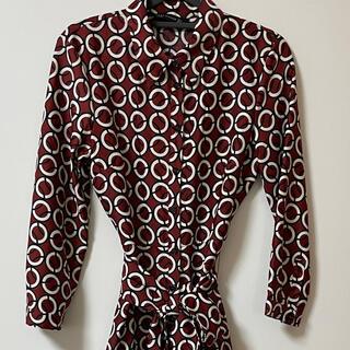 ZARA - ZARA ロングワンピース 上品な深いレッド リボン 襟付き シャツ