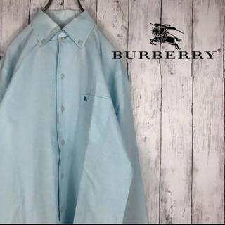 バーバリーブラックレーベル(BURBERRY BLACK LABEL)のバーバリーブラックレーベル 長袖シャツ 刺繍 バーバリー M ライトブルーわ(シャツ)