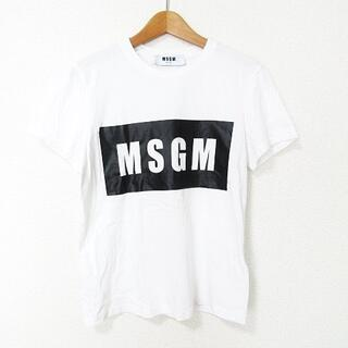 エムエスジイエム(MSGM)のMSGM 美品 Tシャツ カットソー 半袖 ボックスロゴ プリント XS(Tシャツ(半袖/袖なし))