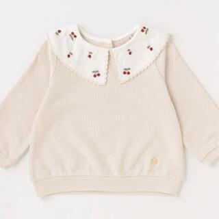petit main - プティマイン 衿チェリー刺しゅう長袖プルオーバー 120