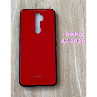 オッポ(OPPO)のシンプル&可愛い♪耐衝撃背面9HガラスケースOPPO A5 2020 レッド 赤(Androidケース)