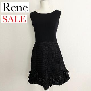ルネ(René)のRene リボンデザイン ブラックワンピース(ひざ丈ワンピース)