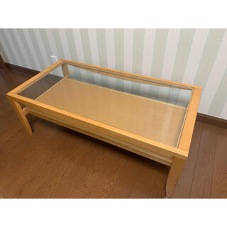 送料込み 木製 ナチュラル ガラス ローテーブル