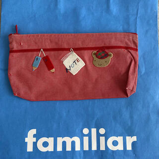 familiar - familiar ファミリア 刺繍 赤 ペンケース ポーチ USED