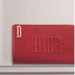 Dior - Dior  ディオール レッド フラット ポーチ ノベルティ 化粧ポーチ 赤
