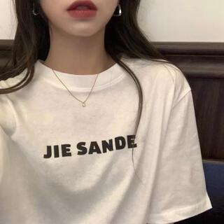 大人気⭐️JIE SANDE オーバーサイズ ロゴTシャツ トップス⭐️ホワイト