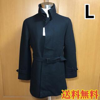 【新品】メンズ ステンカラーコート ブラック L(ステンカラーコート)