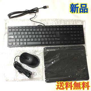 【新品】gateway キーボード マウス マウスパッド ブラック(PC周辺機器)