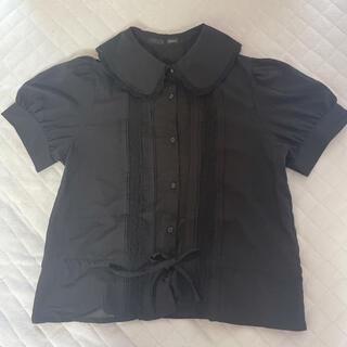 ヘザー(heather)のヘザー♥︎フリル襟ブラウス黒(シャツ/ブラウス(半袖/袖なし))