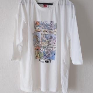 新品未使用☆トムとジェリー Tシャツ 七分袖 長袖 ホワイト 白 ロンティー