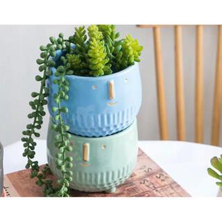 多肉植木鉢 北欧風ーブルー、緑2点セット 陶器の植木鉢(プランター)