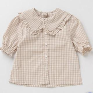 petit main - petitmain ベージュギンガムチェックフリル襟ブラウス半袖110cm 新品