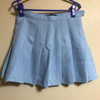 ミニプリーツスカート 水色 Lサイズ(ミニスカート)