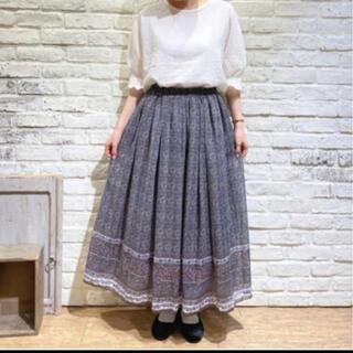 SM2 - 裾ラインプリントスカート チャコール