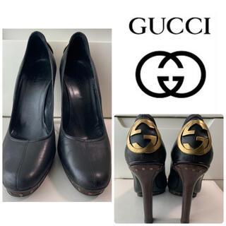 Gucci - GUCCI ブラックレザー アイコン パンプス