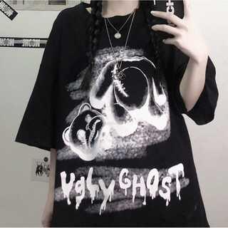 病みくまちゃんTシャツ 地雷 テディベア ユニセックス 韓国風(Tシャツ(半袖/袖なし))
