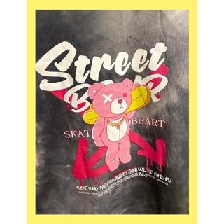 🐻匿名🐻くま Tシャツ タイダイ ビッグシルエット ストリート オフホワイト(Tシャツ(半袖/袖なし))
