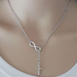 クロス リボン ネックレス シルバー 銀 シンプル 大人 上品 オルチャン(ネックレス)