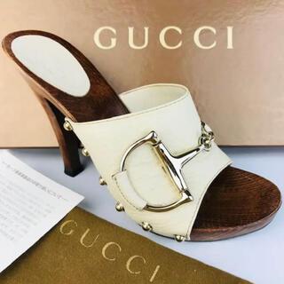 Gucci - 美品★GUCCI・グッチ レザー ビックホースビット ウッドサンダル(36)