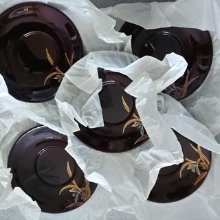 漆器未使用品2種 品番AY91-49ヒマワリ鉢と品番AY91-42のセット (漆芸)