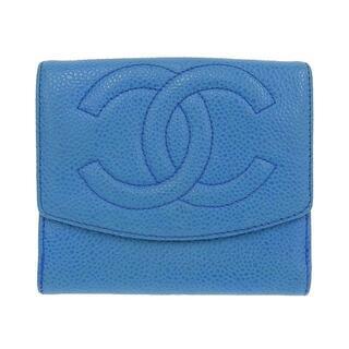 シャネル(CHANEL)のシャネル 二つ折財布 キャビア ブルー 青 ゴールド金具 5番台(財布)