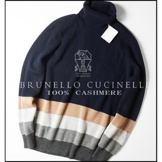 ブルネロクチネリ(BRUNELLO CUCINELLI)のyousuke様カシミヤ100%肉厚ネイビータートルネックニットセーター52XL(ニット/セーター)