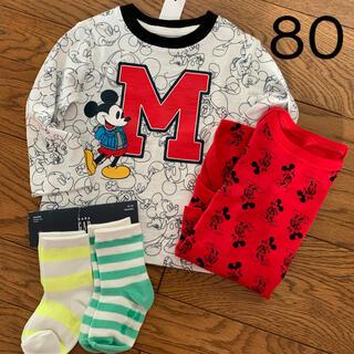 ベビーギャップ(babyGAP)のbabyGAP ミッキー 80㎝ ロンT ロンパース肌着 靴下2足 セット(Tシャツ)