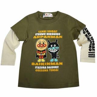 アンパンマン(アンパンマン)の新品 100cm アンパンマン 重ね着風長袖Tシャツ カーキー(Tシャツ/カットソー)