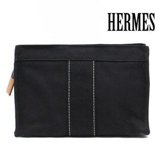 エルメス(Hermes)の美品 エルメス ドーヴィル コットン100% ポーチ 化粧ポーチ ネイビー(ポーチ)