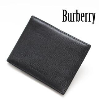 BURBERRY - バーバリー レザー ノバチェック 二つ折り財布 札入れ ブラック