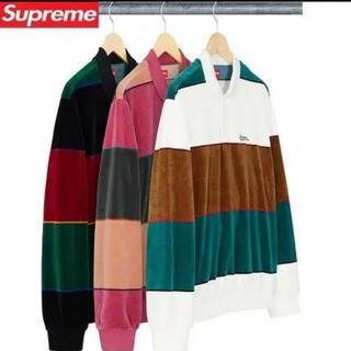 Supreme - supreme stripe velour l/s polo XL