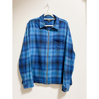 STUSSY - stussy zip up plaid flannel shirt 19ss