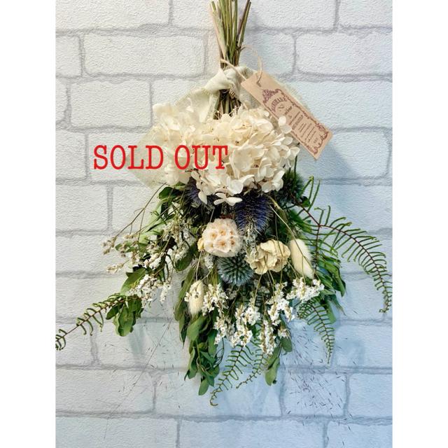 ドライフラワー スワッグ❁86 薔薇 ホワイト 紫陽花 ブルー 白ブーケ 花束 ハンドメイドのフラワー/ガーデン(ドライフラワー)の商品写真