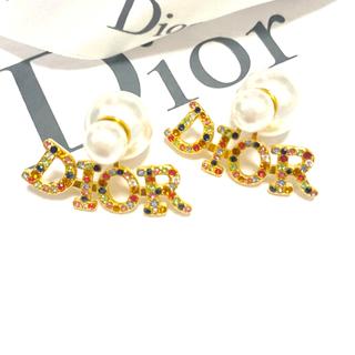 Dior - マルチカラーロゴ ピアスパール