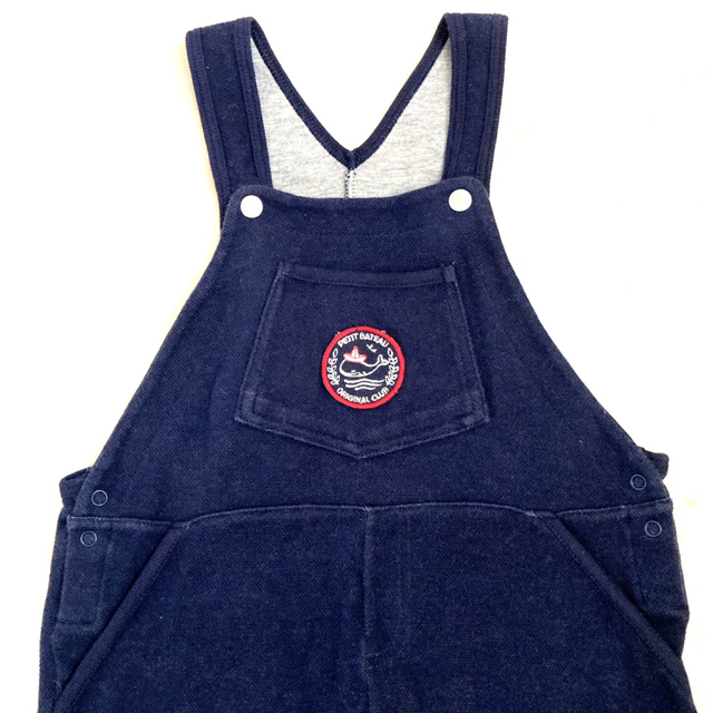 PETIT BATEAU(プチバトー)のプチバトー PETIT BATEAU ヒッコリーサロペット キッズ/ベビー/マタニティのベビー服(~85cm)(ロンパース)の商品写真