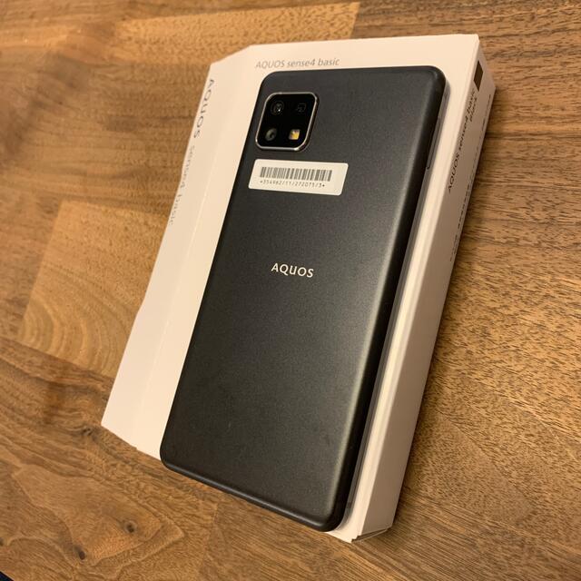 AQUOS(アクオス)の【未使用品】AQUOS sense4 basic ブラック スマホ/家電/カメラのスマートフォン/携帯電話(スマートフォン本体)の商品写真
